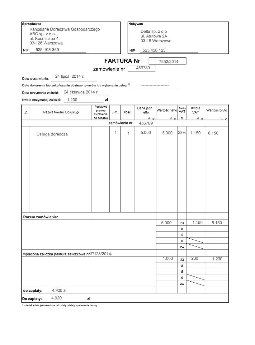 Obowiązek Podatkowy Przy Zaliczce Powstaje Z Chwilą Uznania Rachunku